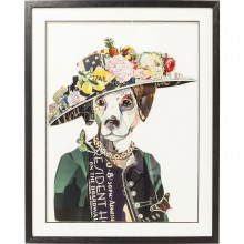 Tableau Frame Art Lady Dog 90x72cm Kare Design