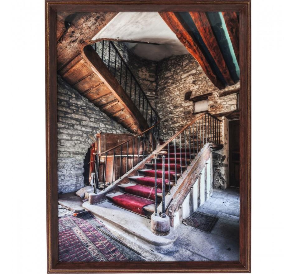 Tableau Frame Old Staircase Red Carpet 80x60cm Kare Design