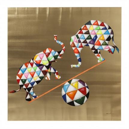 Tableau Touched éléphants cirque 120x120cm Kare Design