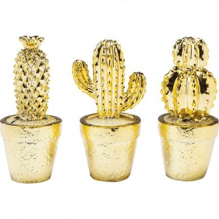 Déco Cactus Desert dorés set de 3 Kare Design
