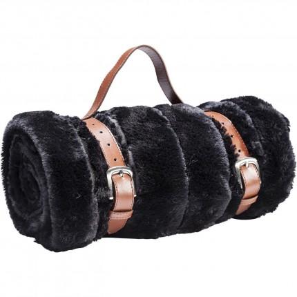 Plaid Fur Stripes fourrure noire 150x200cm Kare Design