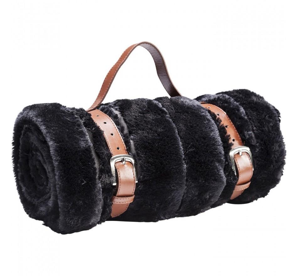 Plaid Fur Stripes noir 150x200cm Kare Design