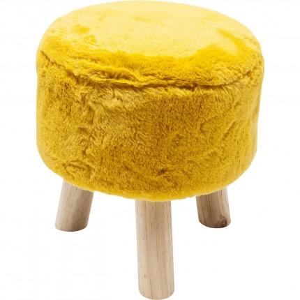 Tabouret Fur jaune 32cm Kare Design