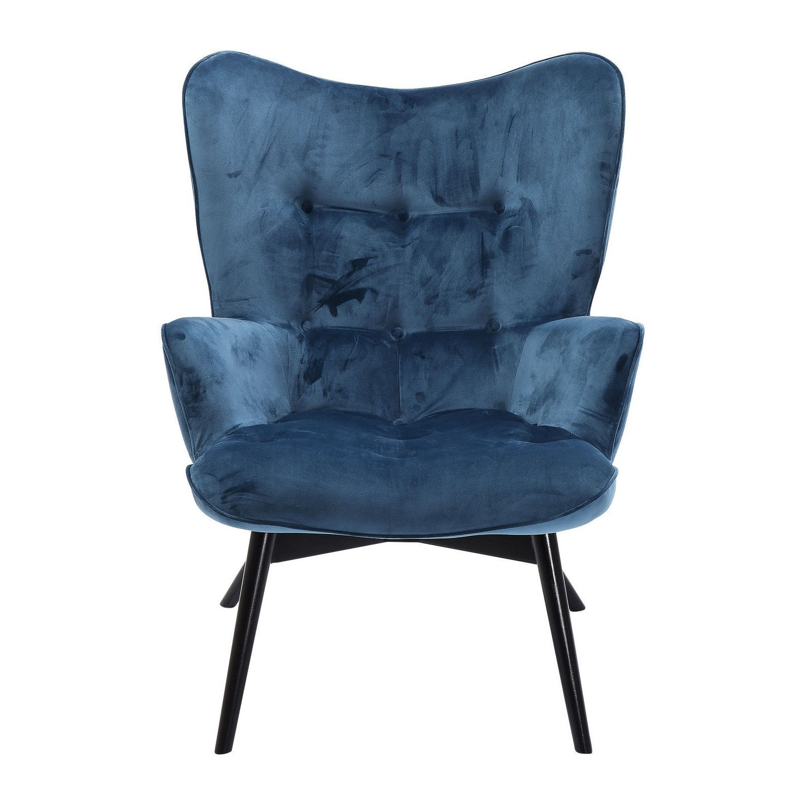 fauteuil retro en velours bleu vicky kare design. Black Bedroom Furniture Sets. Home Design Ideas
