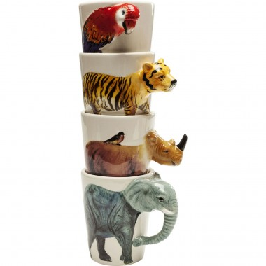 Tasses animaux Wild Life set de 4 Kare Design