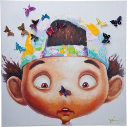 Tableau Touched Boy with Butterflys 100x100cm Kare Design