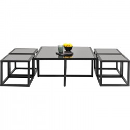 Tables basses Quad noires 80x80cm set de 5 Kare design