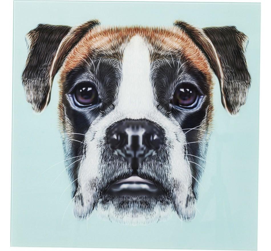 Tableau en verre Dog Face 60x60cm Kare Design