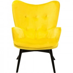 Fauteuil Vicky velours jaune