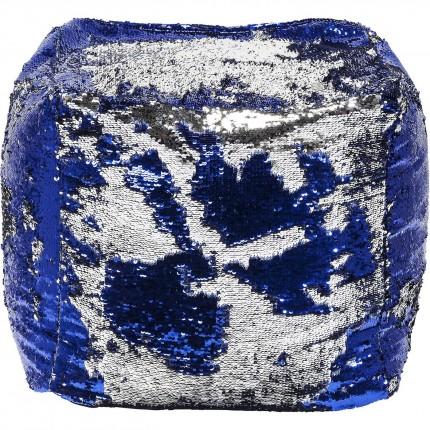 Pouf Disco Queen bleu et argent 45cm Kare Design