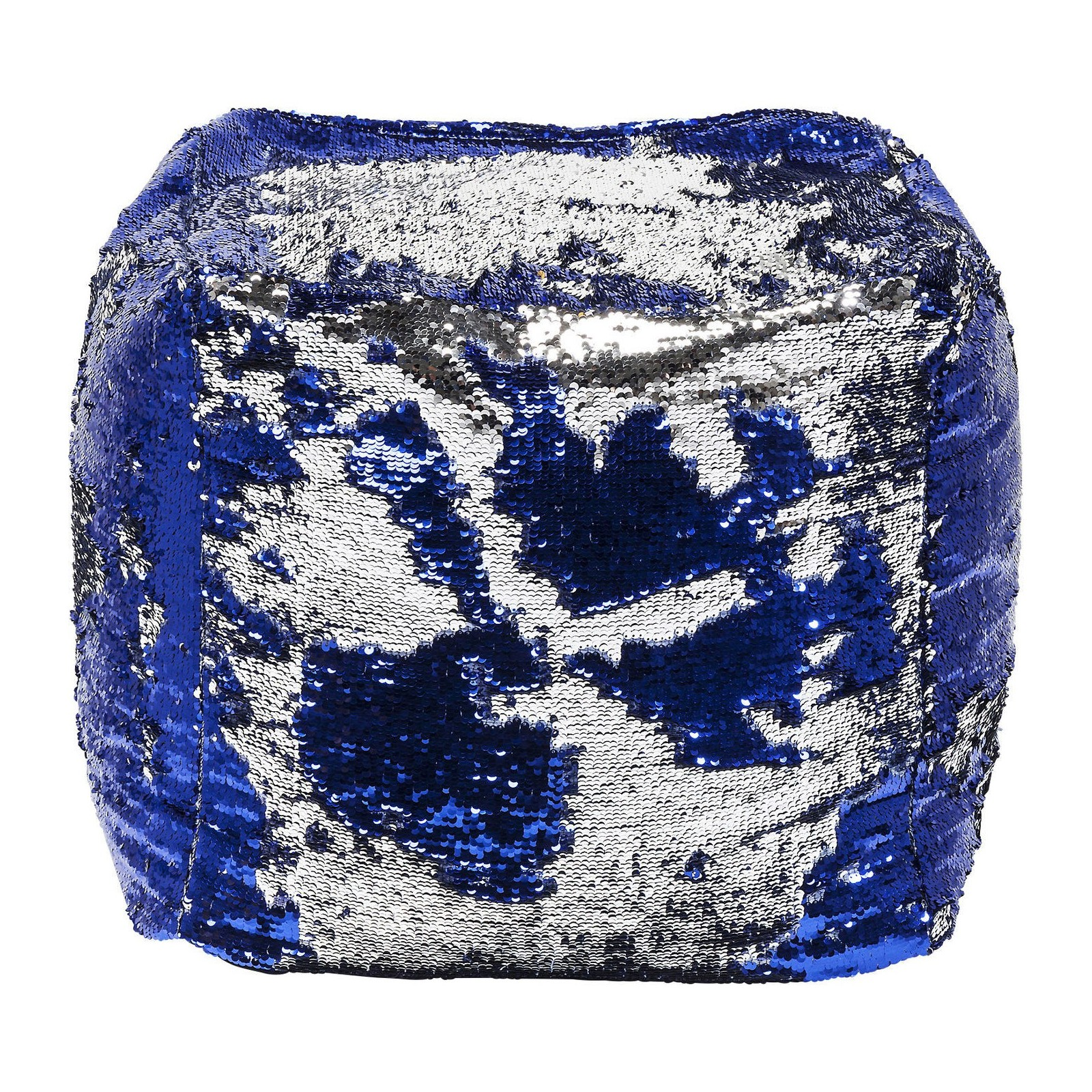 pouf disco queen bleu et argent 45x45cm kare design. Black Bedroom Furniture Sets. Home Design Ideas