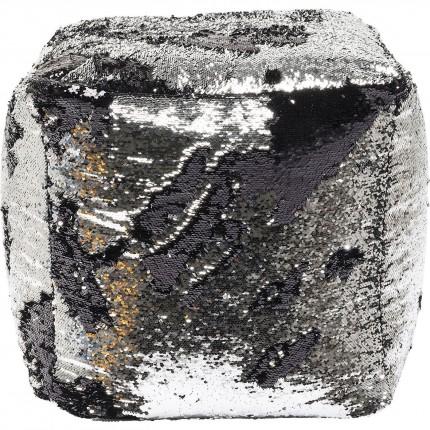 Pouf Disco Queen noir et argent 45cm Kare Design