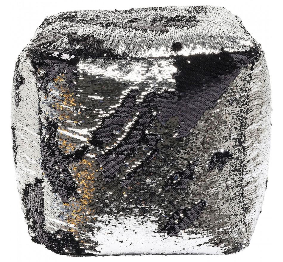 Tabouret Disco Queen noir-argenté 45x45cm
