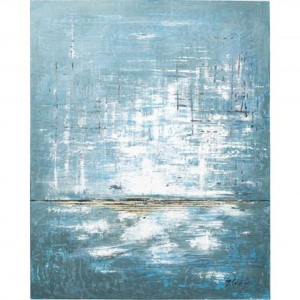 Peinture à l'huile Abstract bleu et blanc 150x120cm Kare Design
