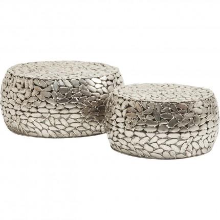 Tables basses Pebbles Deluxe set de 2 argent Kare Design