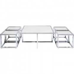 Tables basses Quad argent 80x80cm set de 5 Kare Design