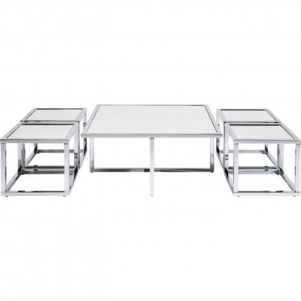 Tables basses Quad argent 80x80cm set de 5 Kare Design