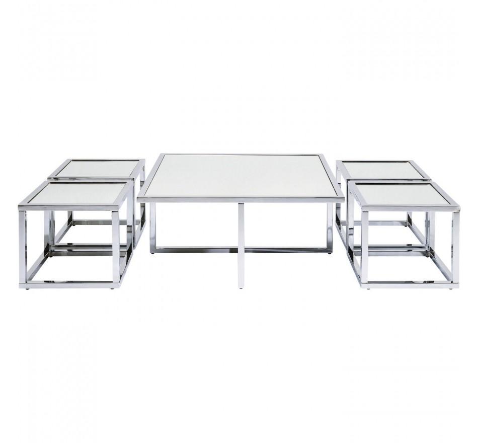 Table basse Quad argenté 80x80cm (jeu de 5)