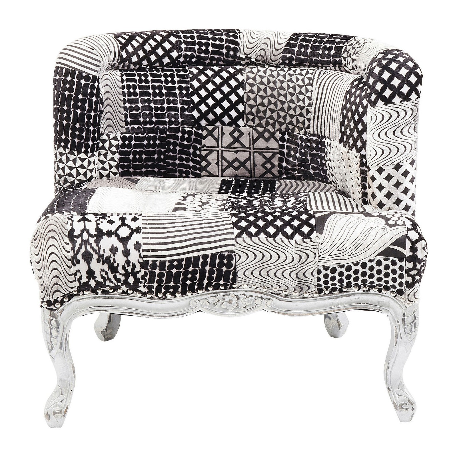 fauteuil baroque patchwork noir et blanc rockstar kare design. Black Bedroom Furniture Sets. Home Design Ideas