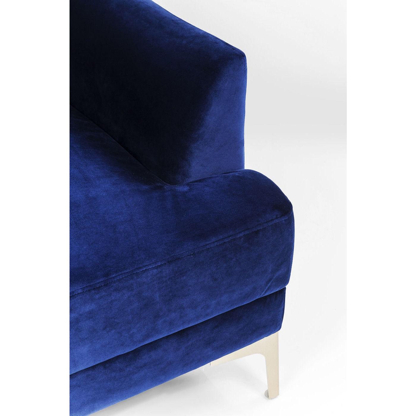 Canapé Proud 3 places velours bleu roi Kare Design