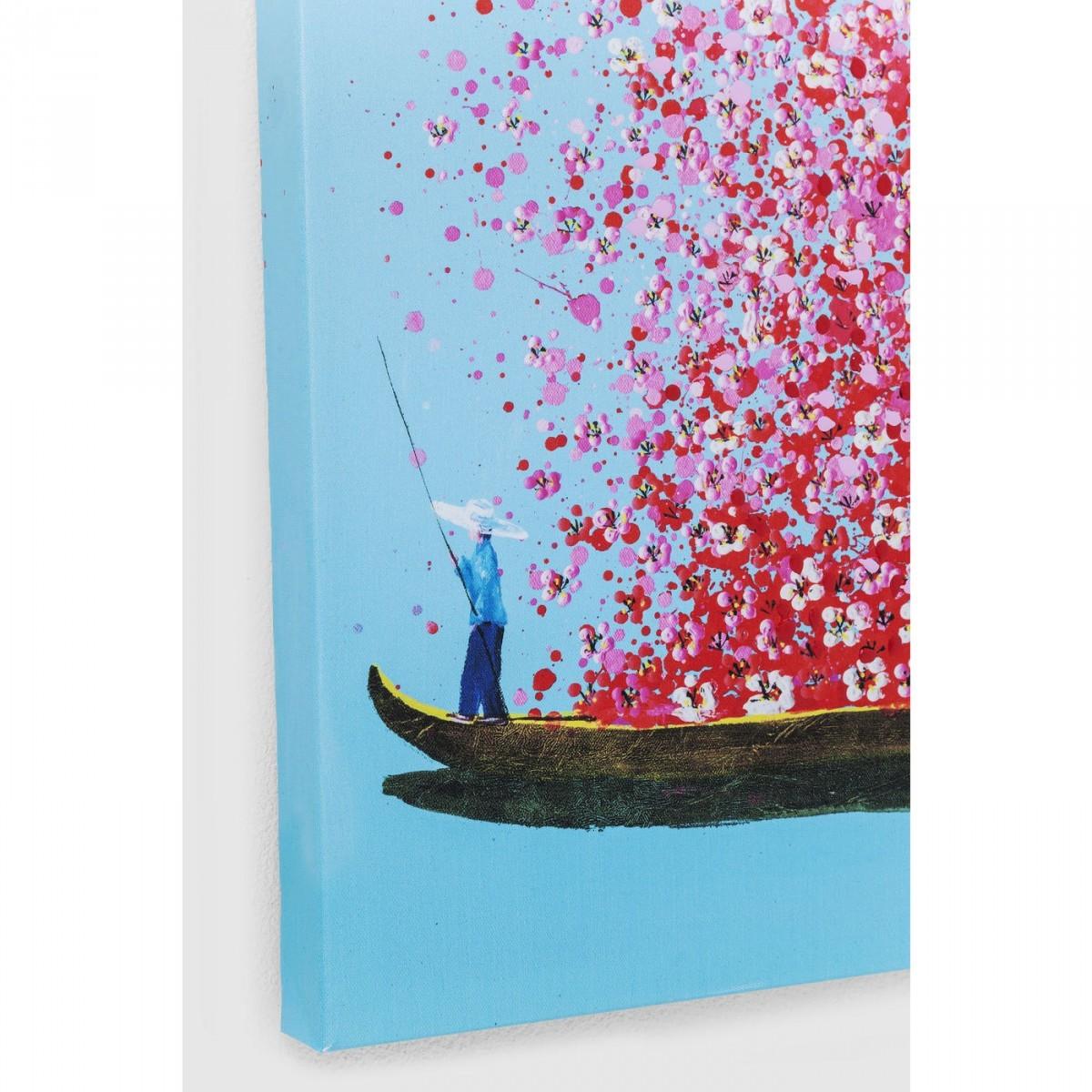 Tableau Touched fleurs pirogue bleu et rose 100x80cm Kare Design