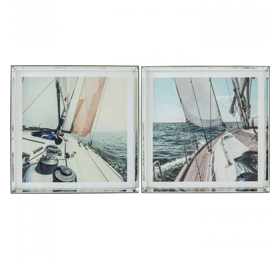 Tableaux Frame Sailing 80x80cm set de 2 Kare Design