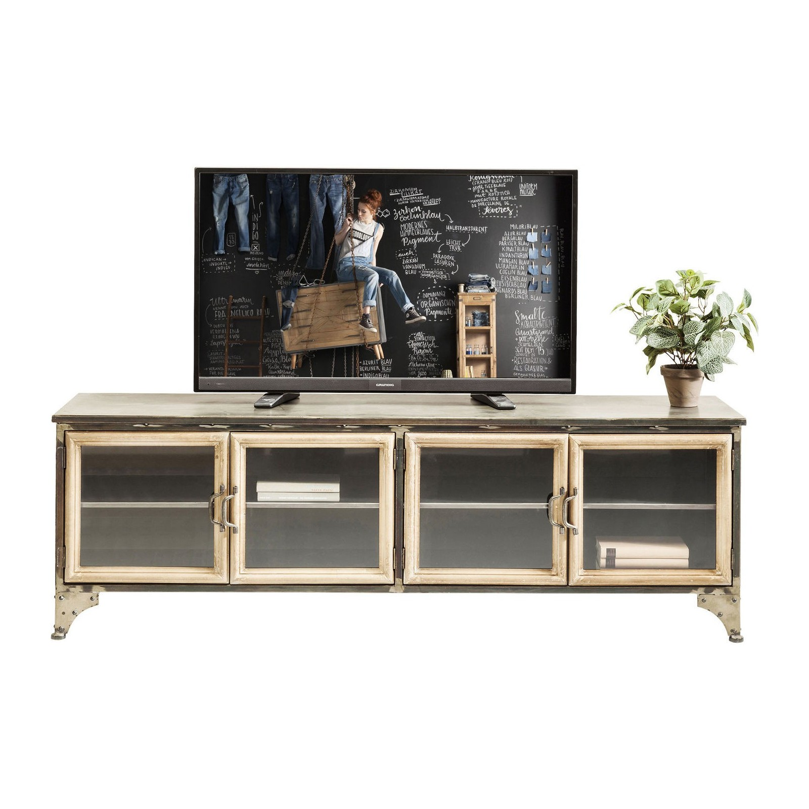 Meuble Tv Industriel Gris Kondor Kare Design # Meuble Tv Metal Gris