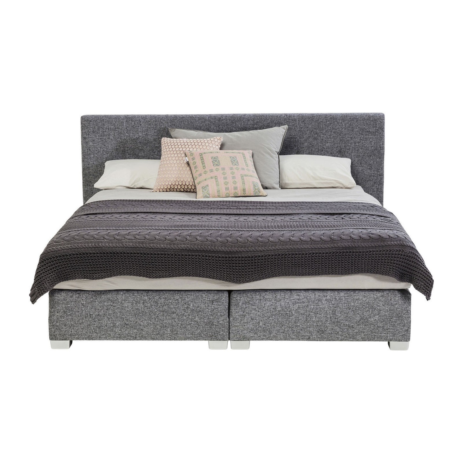 lit boxspring lux gris 160x200 kare design. Black Bedroom Furniture Sets. Home Design Ideas