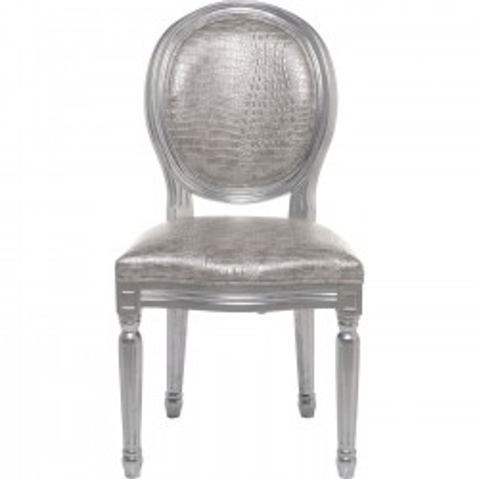 Chaise Louis Antique croco argenté