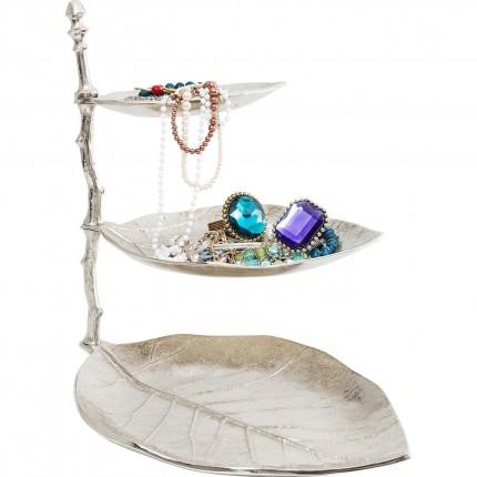 Porte-bijoux feuilles argentées 45cm Kare Design