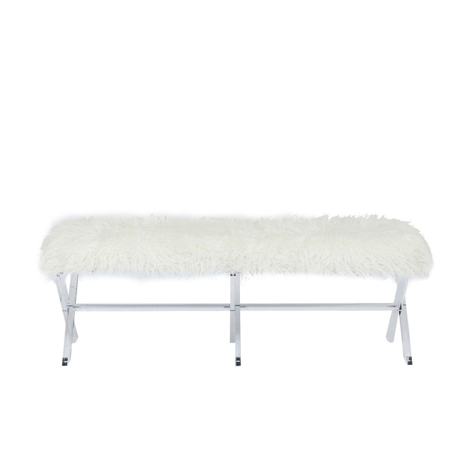 banc contemporain en fausse fourrure blanche visible fur. Black Bedroom Furniture Sets. Home Design Ideas