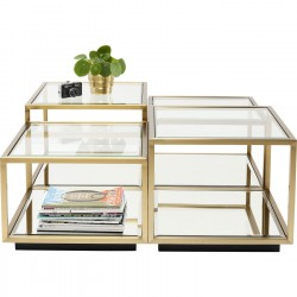 Tables basses Luigi dorées set de 4 Kare Design