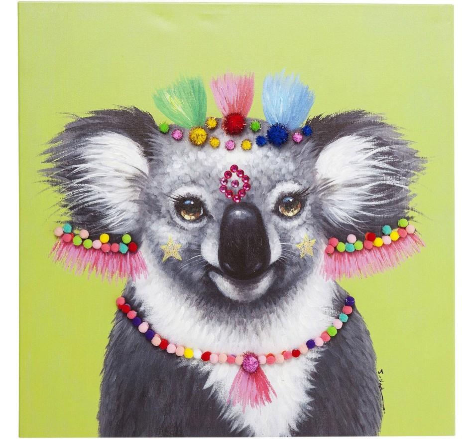 Tableau Touched Koala Pom Pom 70x70cm Kare Design