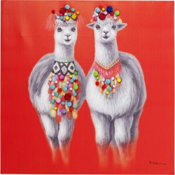 Tableau Touched Lama Couple 90x90cm Kare Design