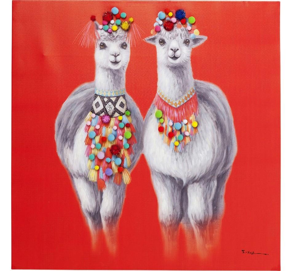 Tableau Touched Lama Couple 90x90cm Kare Design
