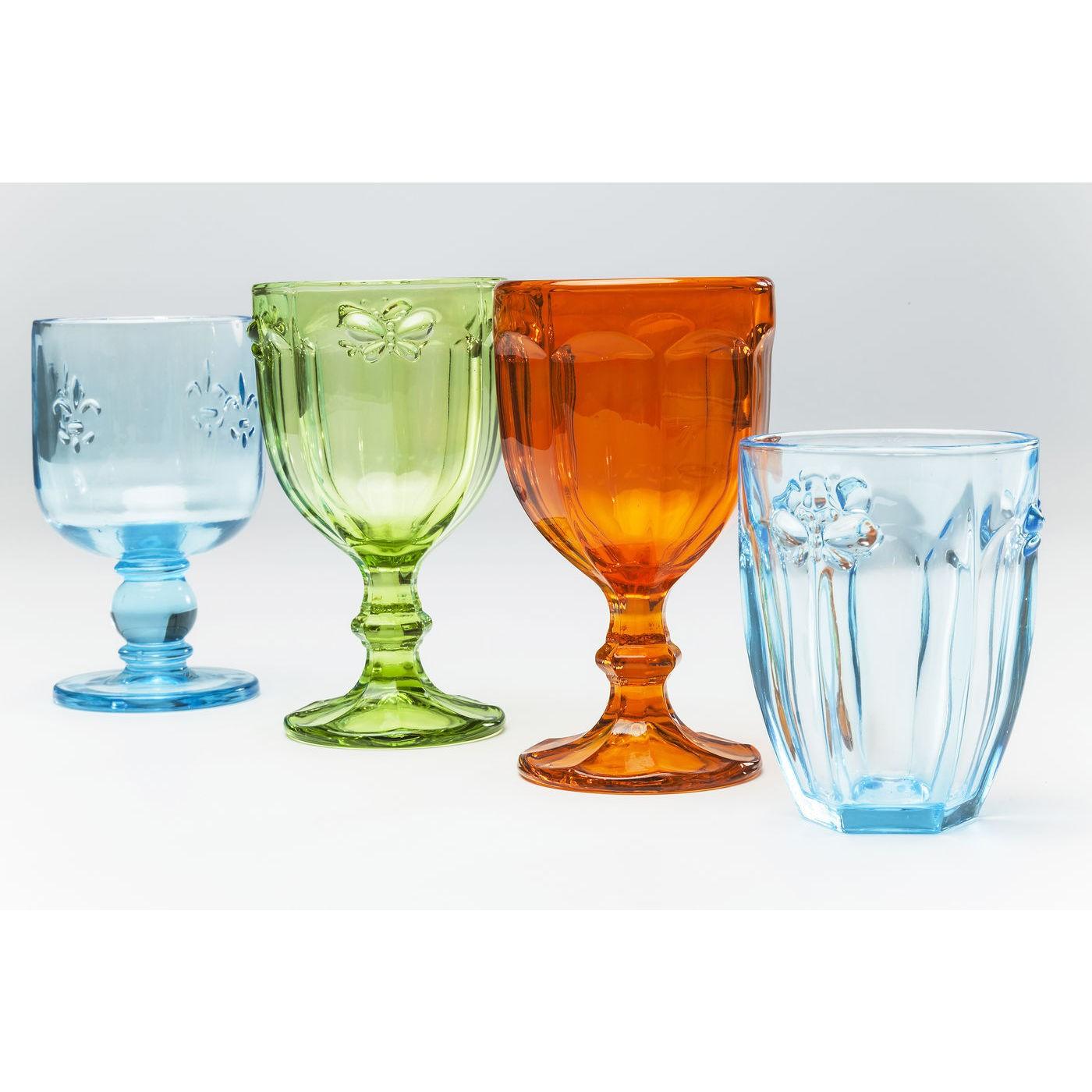 Verres à eau Butterfly turquoises set de 4 Kare Design