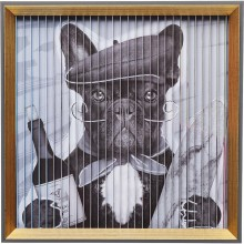 Tableau Frame Art 3D French Dog 43x43cm Kare Design