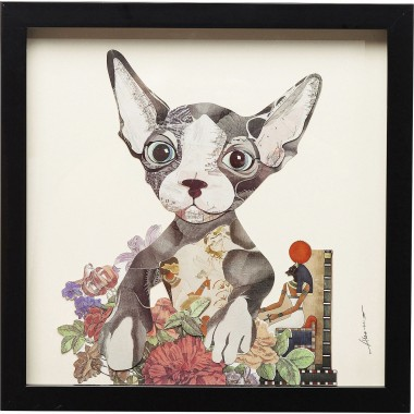 Tableau Frame Art Flower Dog 41x41cm Kare Design