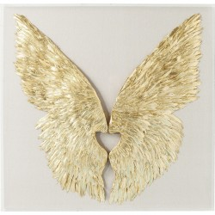 Déco murale Wings doré White 120x120cm Kare Design