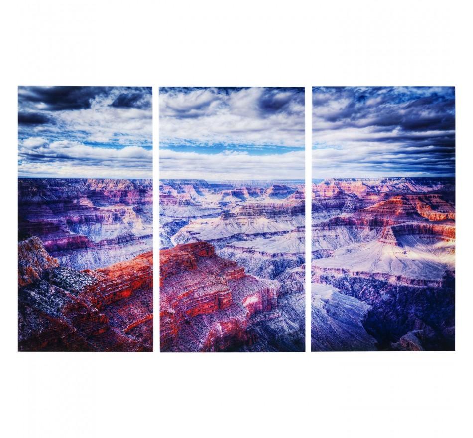 Tableaux en verre Triptychon Grand Canyon 160x240cm set de 3 Kare Design