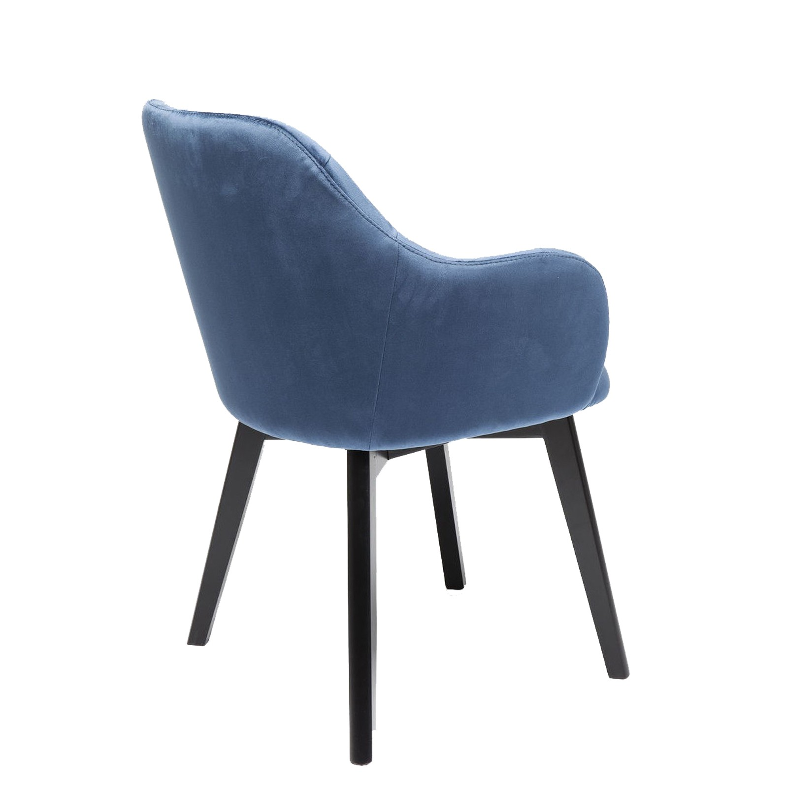 Chaise avec accoudoirs Lady pieds noirs bleu pétrole Kare Design