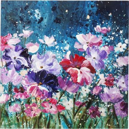 Peinture à l'huile nuit de fleurs 100x100cm Kare Design