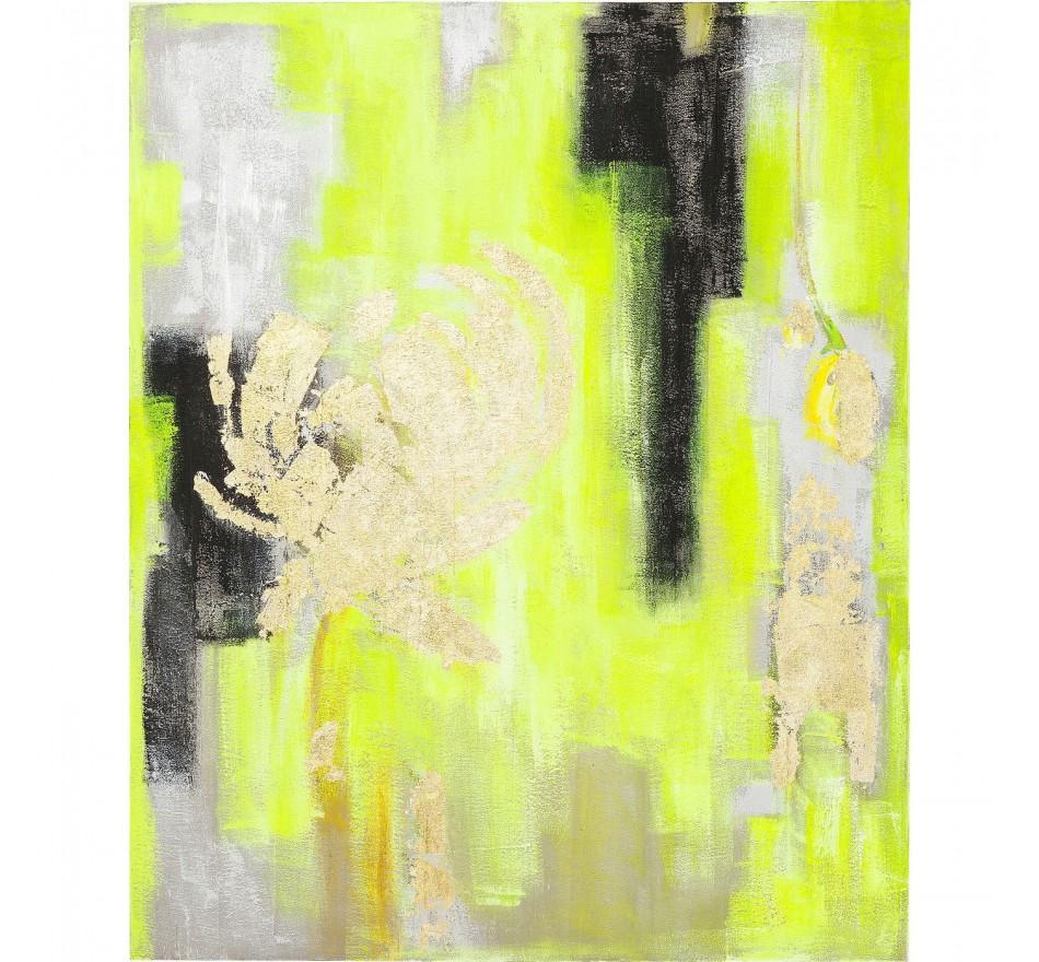 Peinture à l'huile Abstract jaune et or 150x120cm Kare Design