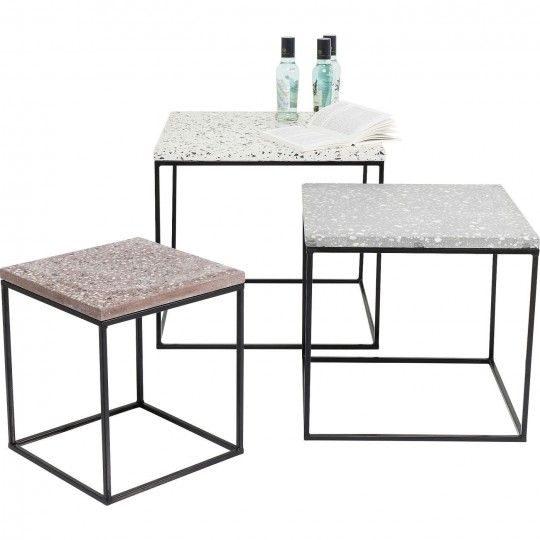 Tables d'appoint Terrazzo carré set de 3 Kare Design