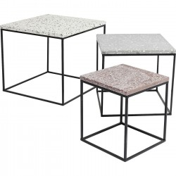 Tables d'appoint Terrazzo carrées set de 3 Kare Design