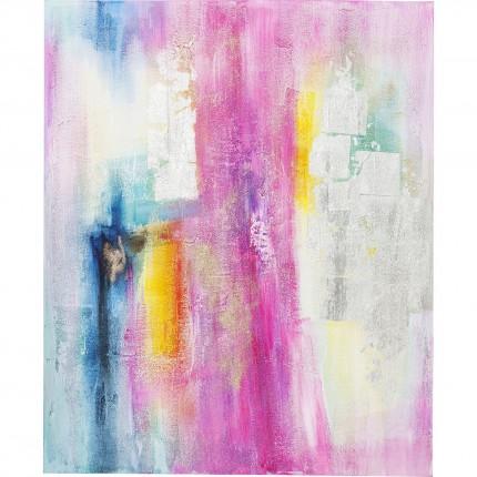 Peinture à l'huile Abstract rose et argent 150x120cm Kare Design