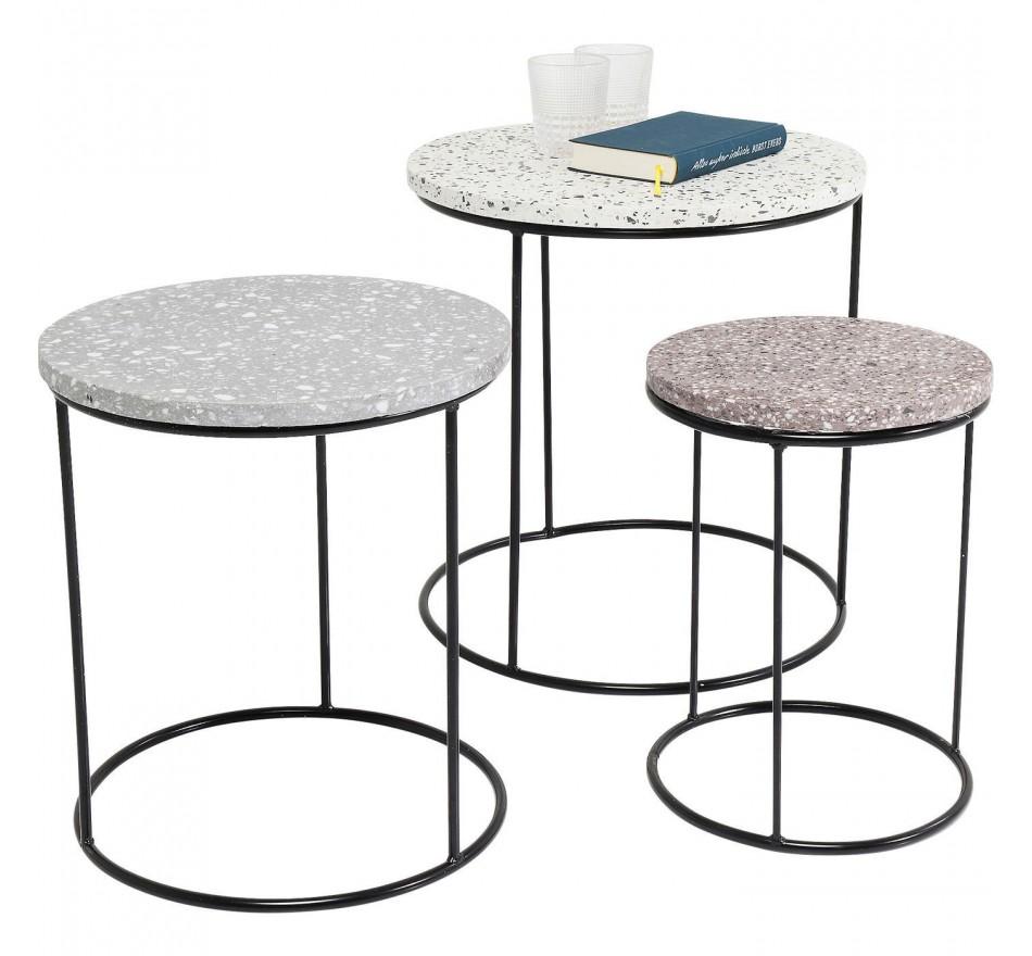 Tables d'appoint Terrazzo rond set de 3 Kare Design