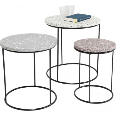Tables d'appoint Terrazzo rondes set de 3 Kare Design