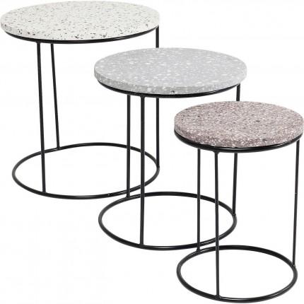 Tables d'appoint Terrazzo rondes set de 3 Kare Design