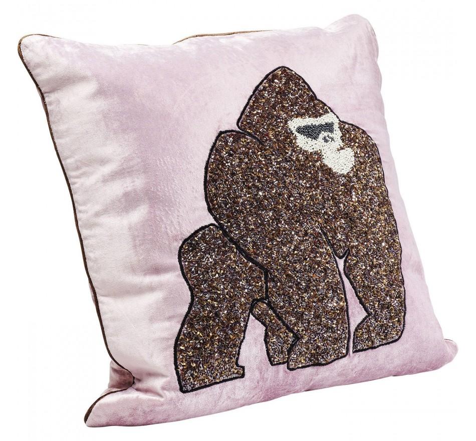 Coussin gorille rose 45x45cm Kare Design